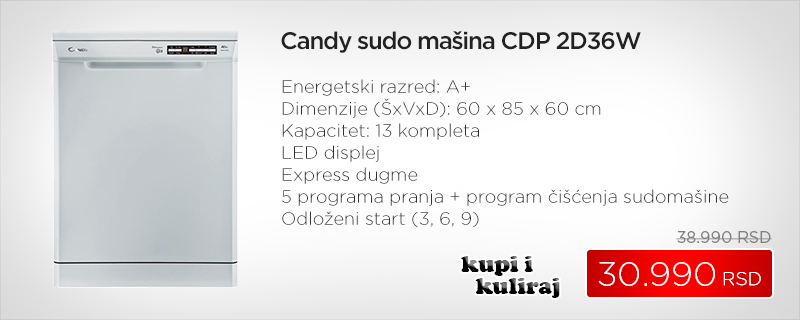Candy sudo mašina CDP 2D36W - Cool Shop