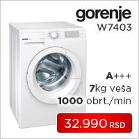 Gorenje mašina za pranje veša W7403