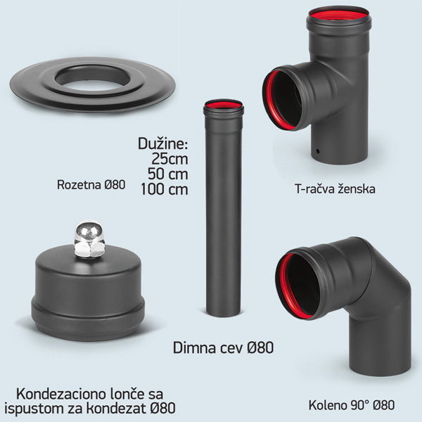 SET Dimovodnih cevi  za  peći na pelet Ø80×1.2mm - Cool Shop
